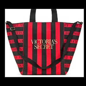 Victoria Secret Red and Black Striped Tote Bag